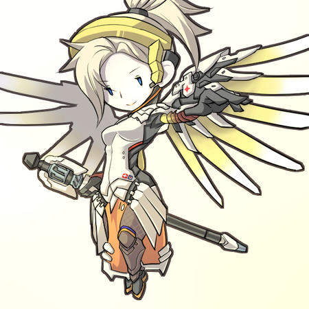 blonde blue_eyes halo mercy overwatch staff wings // 600x600 // 267.7KB