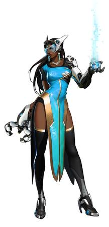 brunette cyborg dbg dress high_heel long_hair overwatch thighhighs // 927x1920 // 139.1KB