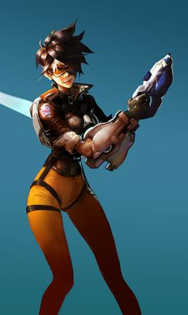 brunette gloves goggles jacket overwatch tracer // 2086x3508 // 3.3MB
