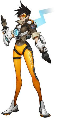 brunette gloves goggles jacket overwatch tracer // 1004x1920 // 164.0KB
