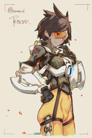 brunette gloves goggles jacket overwatch sketch tracer // 1280x1920 // 1.3MB