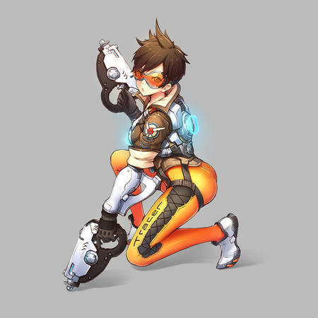 brunette gloves goggles jacket overwatch tracer // 800x800 // 210.3KB