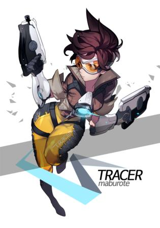 brunette gloves goggles jacket overwatch tracer // 700x1000 // 405.3KB