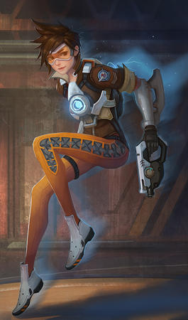 brunette gloves goggles jacket overwatch tracer // 706x1200 // 296.2KB