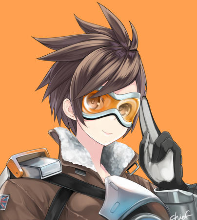 brunette gloves goggles jacket overwatch tracer // 1078x1200 // 764.6KB