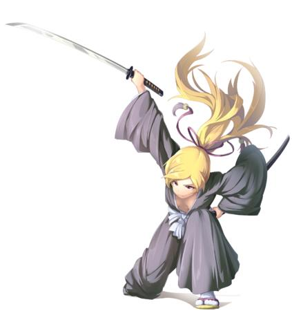blonde katana long_hair ponytail sandals sword // 1500x1594 // 853.1KB