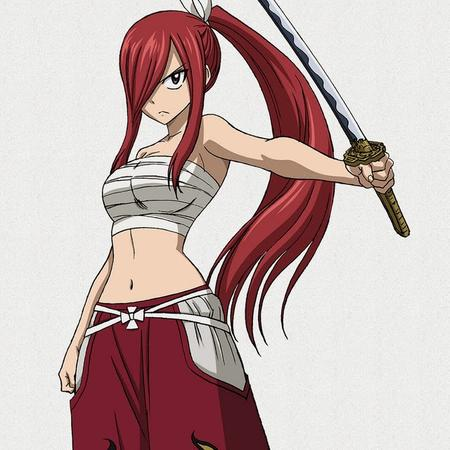 bare_shoulders katana long_hair ponytail redhead sword // 640x640 // 115.6KB