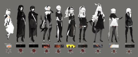 blonde boots brunette cape composite dress gauntlets gloves group high_heels ponytail short_skirt thighhighs white_hair // 2592x1072 // 1.1MB