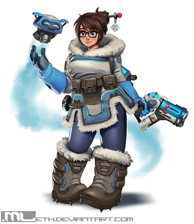 boots brown_eyes brunette glasses gloves gun jacket mei overwatch // 1154x1329 // 1.0MB