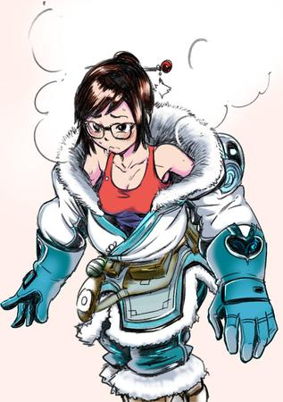 brown_eyes brunette cleavage glasses gloves jacket mei overwatch sketch tank_top // 2039x2894 // 936.7KB
