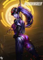 butt jumpsuit overwatch purple_hair rifle sniper widowmaker yellow_eyes // 1426x2000 // 2.8MB