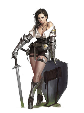 blue_eyes boots brunette cleavage crossguard gauntlets shield short_shorts shorts sword // 650x875 // 63.5KB