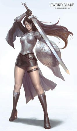 armor blue_eyes boots brunette crossguard gloves shield short_skirt skirt sword // 588x1000 // 69.6KB