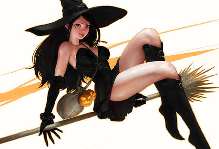 bare_shoulders boots broom brunette dress gloves hat jack-o-lantern long_hair oppai short_skirt witch // 850x578 // 124.7KB