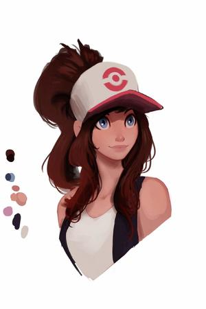 blue_eyes brunette hat pokemon ponytail raichiyo tank_top // 1365x2048 // 79.1KB