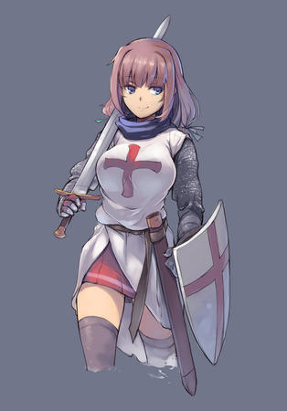 blue_eyes crossguard crusader gauntlets maille shield short_skirt skirt sword tabard thighhighs // 600x860 // 81.4KB
