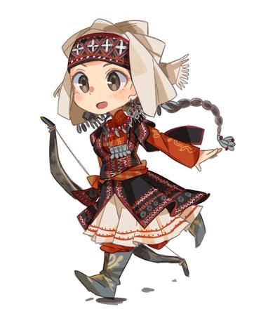 amira boots bow braids brown_eyes brunette dress long_hair otoyomegatari super_deformed // 878x1090 // 443.2KB