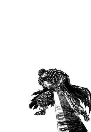 armor berserk brunette bw cape guts manga oversized_weapon sword // 1600x2326 // 197.0KB