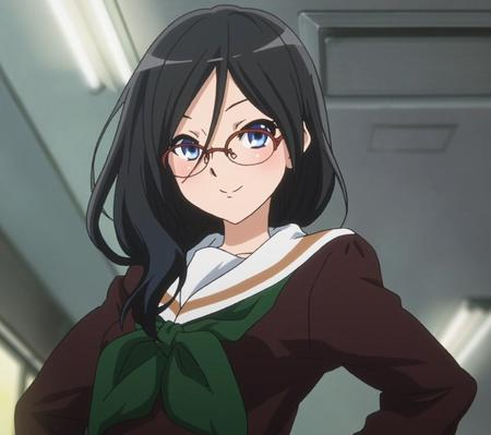 blue_eyes brunette euphonium glasses long_hair school_uniform seifuku sweater tanaka_asuka // 785x696 // 554.3KB