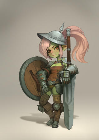 gauntlets goblin helmet oversized_weapon pink_hair ponytail shield sword // 1920x2716 // 458.2KB