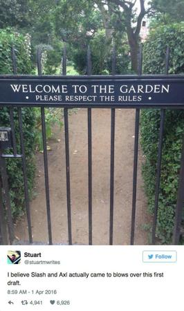 garden gate guns_n_roses humor sign // 600x1014 // 87.9KB