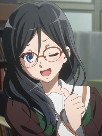 blue_eyes brunette euphonium glasses long_hair reaction school_uniform seifuku sweater thumbs_up wink // 794x1054 // 701.8KB