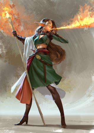 boots brunette dnd elf fire gloves long_skirt skirt staff // 1357x1920 // 371.1KB