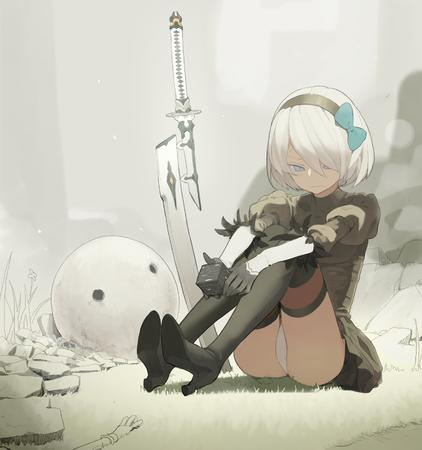 2b blonde blue_eyes boots bow dress gloves headband high_heels nier pnatsu sword thighhighs // 2640x2818 // 467.0KB