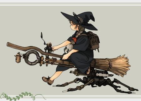 backpack braids broom brunette dress hat steampunk witch // 850x608 // 92.8KB