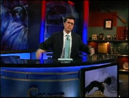animated bear colbert glasses humor lasers necktie suit // 270x205 // 2.7MB