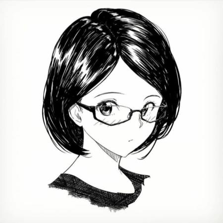 brunette bw glasses // 720x720 // 331.7KB
