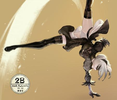 2b blindfold blonde boots dress gloves headband high_heels kick nier pantsu thighhighs white_hair // 2000x1698 // 373.0KB