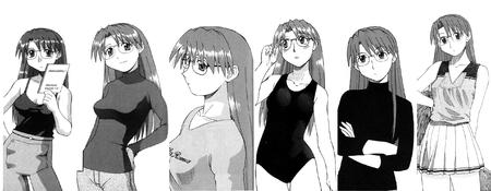 azumanga bw cheerleader composite glasses scarf sweater swimsuit tank_top yomi // 2592x1008 // 552.6KB