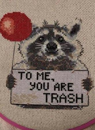 cross-stitch humor raccoon trash // 720x984 // 463.3KB
