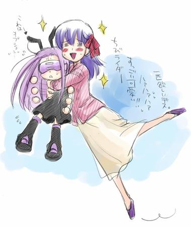 fate hug long_hair purple_hair rider sakura sketch skirt sweater // 656x779 // 79.3KB