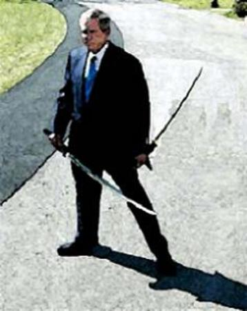 bush necktie ninja political suit sword // 237x298 // 25.7KB