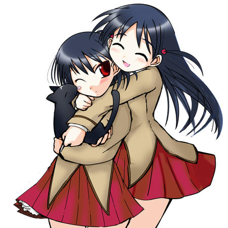 brunette cat hug long_hair school_rumble seifuku skirt tenma yakumo // 630x630 // 215.4KB