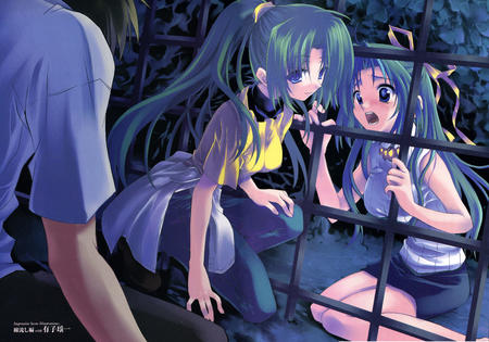 green_hair high_res higurashi jeans long_hair mion ponytail shion skirt tee-shirt // 3500x2450 // 2.2MB