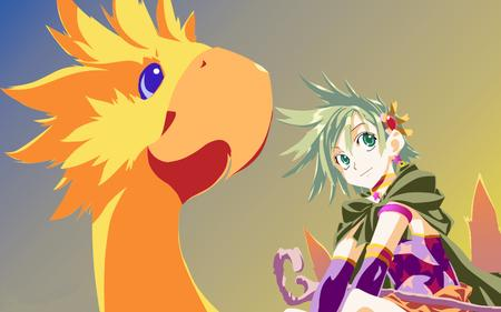 chocobo final_fantasy green_hair high_res staff // 1680x1050 // 715.5KB