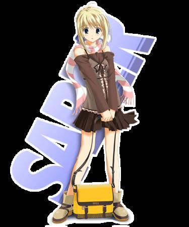 blonde fate saber scarf skirt // 500x600 // 61.3KB