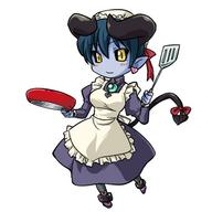 apron astarot frying_pan horns maid purple_hair spatula succubus // 600x600 // 182.6KB
