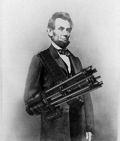 america bw lincoln minigun photo republican // 400x469 // 191.8KB