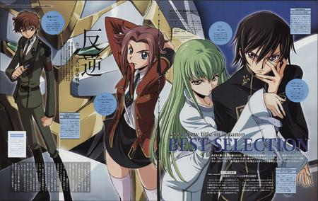 c.c. code_geass green_hair headband high_res kallen lelouche long_hair necktie redhead school_uniform skirt suit suzaku // 5582x3529 // 1.4MB