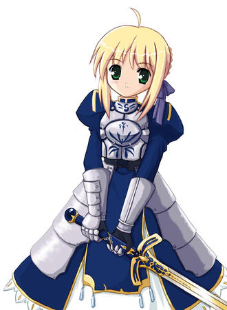 armor blonde braids fate ribbon saber skirt sword // 600x818 // 139.3KB
