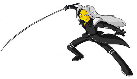 boots ffvii final_fantasy gloves gray_hair groenig long_hair sephiroth simpsons sword // 1212x702 // 202.7KB